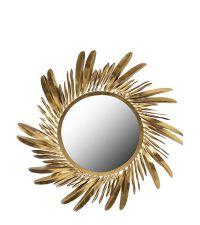 runder Wandspiegel mit goldenem, geschwungenem Feder-Rahmen