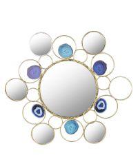 runder Wandspiegel aus goldenem Ring-Rahmen verziert mit blauen Steinen und kleinen Spiegeln