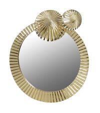 runder Wandspiegel mit goldenem Rahmen in Seerosenblatt-Optik und zwei kleinen, goldenen Seerosenblatt-Verzierungen
