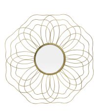 runder Wandspiegel mit zartem, antikgoldenem Metallrahmen in Blütenform