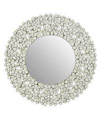 runder Wandspiegel mit auffälligem, breiten Rahmen aus funkelnden Glaskristallen
