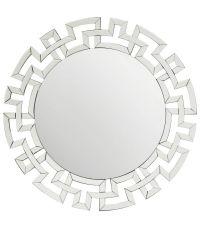 runder Wandspiegel mit auffälligem verspiegelten Rahmen mit geometrischem Muster