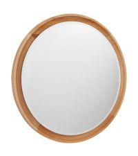 runder Wandspiegel mit gewölbtem Rahmen aus Buchenholz