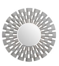 prächtiger runder Wandspiegel mit auffälligem, erhabenen Rahmen in silber