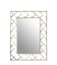 eckiger Spiegel mit breitem Rahmen mit gekreuztem Muster, silber