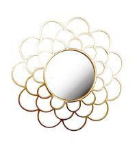 runder Wandspiegel mit goldener Metalleinfassung in Blütenform