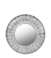 runder Wandspiegel mit gewölbtem Rahmen aus Metall mit Lochmuster, grau