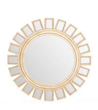 runder Wandspiegel mit goldener Einrahmung