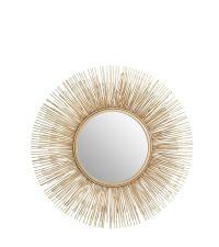 runder Wandspiegel in Sonnenform mit unzähligen goldenen Streben