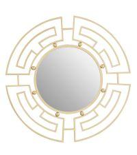 runder Spiegel mit geometrischem, zarten Rahmen aus Metall, gold