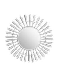 sonnenförmiger Wandspiegel mit gedrehten Chromblättchen
