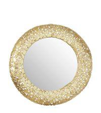 runder Wandspiegel mit gewölbtem goldenen Rahmen mit Lochmuster