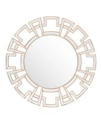 runder Wandspiegel mit verspiegeltem Rahmen mit geometrischem Muster & goldener Einfassung