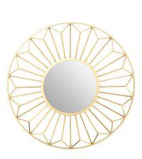 runder Wandspiegel mit goldenem, geometrisch gefromten Rahmen mit 3D-Effekt
