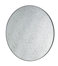 großer, runder Wandspiegel mit Holzrahmen und Spiegelglas in Antik-Optik