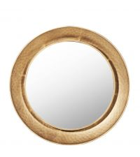 runder Wandspiegel aus Metall in Hammerschlag-Optik, gold