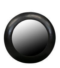 runder Wandspiegel mit schwarzem Metallrahmen, groß