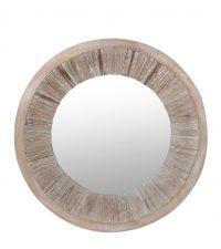 runder Wandspiegel mit strukturiertem Rahmen aus Tannenholz