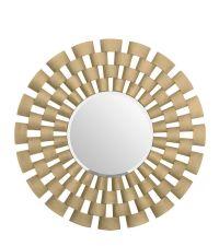 prächtiger runder Wandspiegel mit auffälligem, erhabenen Rahmen in matt gold