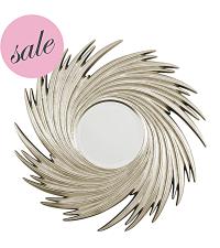 SALE gerillter runder Wandspiegel mit wirbelförmigem Rahmen champagner, Ausstellungsstück -30%