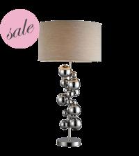 SALE moderne Tischlampe Kugelturm mit glänzendem Lampenfuß aus Nickel, Ausstellungsstück
