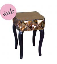 SALE moderner verspiegelter Nachttisch aus getöntem Spiegelglas mit einer Lade bronze