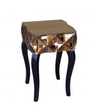 moderner verspiegelter Beistelltisch aus getöntem Spiegelglas mit einer Lade bronze