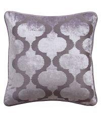 Kissenhülle aus Samt mit aufgesticktem Trellis Muster 'Marrakesch' lila