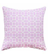 Kissenhülle mit weißem, geometrischen Muster 'Cloudy lila'