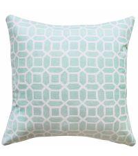 mintfarbene Kissenhülle mit weißem, geometrischen Muster 'Cloudy Mint'