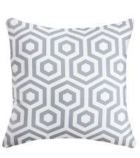 Kissenhülle mit Hexagon Muster auf der Vorderseite und Zick Zack Look auf der Rückseite 'Grey Stone'