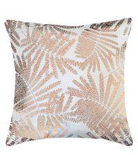 cremeweiße, schimmernde Kissenhülle mit goldenem, tropischen Pflanzenmuster 'Velvet Leaf'