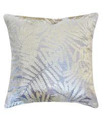 """silberne, schimmernde Kissenhülle mit goldenem, tropischen Pflanzenmuster """"Velvet Leaf"""""""