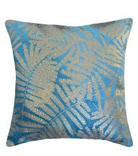 petrolfarbene, klare Kissenhülle mit goldenem, tropischen Pflanzenmuster 'Velvet Leaf'