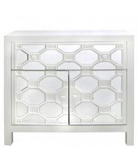 edler weißer Schrank mit geometrischem Muster aus Holz und Spiegel-Elementen