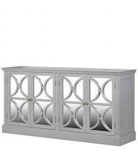 graues Sideboard im Landhausstil mit Türen aus Spiegelglas und geometrischen Mustern