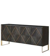 Sideboard aus dunklem Ulmenholz und Kupfer-Beinen, vier Schranktüren mit großem Rauten-Muster