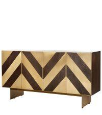 dunkles Holz-Sideboard im Vintage-Stil mit geometrisch gemusterten Fronten aus dunkler Eichenfurnier und dunklen Messingelementen auf Messingfüßen