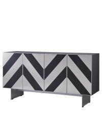 schwarzes Holz-Sideboard im Vintage-Stil mit geometrisch gemusterten Fronten aus schwarzer Eschefurnier und silbernen Edelstahlelementen auf Edelstahlfüßen