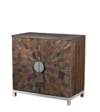 Sideboard aus Ulmenholz, zwei Regaltüren mit strahlenförmiger Verzierung und zwei halbrunden, silbernen Metallgriffen auf silbernen Metallbeinen