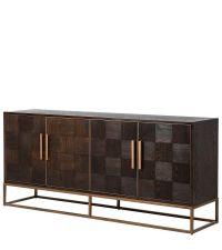 großes luxuriöses Sideboard mit Schachbrettmuster aus dunkelem Eichenholz mit goldener Metalleinfassung