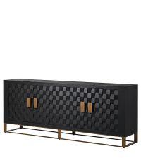 großes, schwarzes Sideboard mit 4 Türen mit 3D-Effekt & kupferfarbenem Rahmen