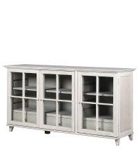 Sideboard mit Glastüren mit Sprossen, verwaschen weiß