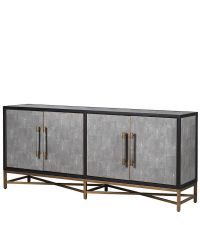 edles Sideboard mit grauem Kunstlederbezug in Schlangenleder-Optik, Kanten schwarz, Füße antik-gold