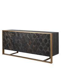 dunkelbraunes Sideboard mit geometrisch gemusterten Türen & goldenem Rahmen