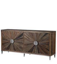 Sideboard aus Ulmenholz mit Türen mit strahlenförmiger Verzierung und silbernen Metallgriffen & Beinen