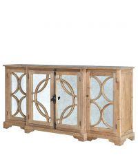 rustikales  Sideboard aus Kiefernholz mit verspiegelten Türen in Antik-Optik mit geometrischer Verzierung