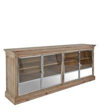 Stilmix-Sideboard aus Kiefernholz & Edelstahl mit Glastüren