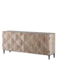Sideboard mit strukturierter Front mit Wellenmuster aus Kiefernholz mit schwarzem Metallrahmen