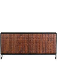 großes Sideboard mit schwarzem Korpus und strukturierten Fronten aus Palisanderholz
